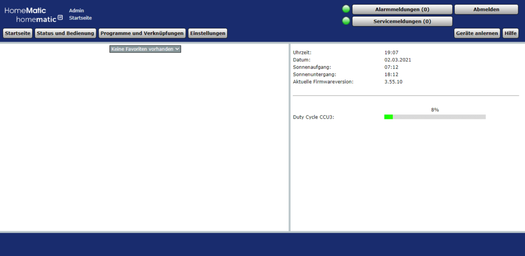 HomeMatic CCU - Startseite