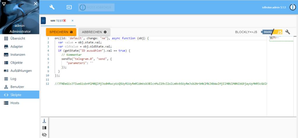 ioBroker - Blockly Beispiel unter Javascript